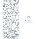 Vector seamless vertical background with outline icons of cat, bird, snake and dog.  Stock Photo