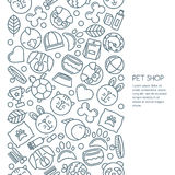 Vector seamless vertical background with outline pets icons. Goods for animals. Stock Photo