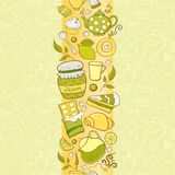 Vector seamless vertical border with tea elements Royalty Free Stock Image