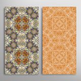Vector seamless vertical floral geometric patterns set Royalty Free Stock Photos