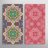 Vector seamless vertical floral geometric patterns set Stock Photography