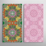 Vector seamless vertical floral geometric patterns set Royalty Free Stock Images