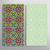 Vector seamless vertical floral geometric patterns set Royalty Free Stock Photography