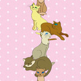 Vector seamless vertical pattern with cats Stock Image