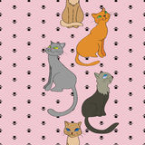 Vector seamless vertical pattern with cats Royalty Free Stock Image
