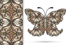 Vector seamless vertical pattern with Decorative. Ornate butterfly, hand drawn texture for invitation or card design Royalty Free Stock Image