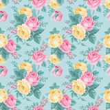 Vector seamless vintage floral pattern. Bouquets of pink and yellow roses with emerald mint leaves on a striped background. Victorian style royalty free illustration