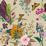 Vector seamless vintage floral pattern. Exotic flowers and birds. Royalty Free Stock Photography