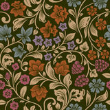 Vector seamless vintage floral pattern. Stylized silhouettes of flowers and berries on a black background. Orange, pink, brown, purple flowers with gold leaves Stock Photography