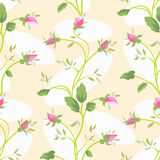 Vector seamless vintage flower rose pattern. Royalty Free Stock Photo
