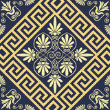 Vector Seamless vintage gold Greek ornament (Meander) Royalty Free Stock Photo