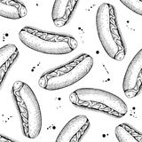 Vector seamless vintage hot dog pattern. Hand drawn monochrome f Stock Photo