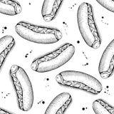 Vector seamless vintage hot dog pattern. Hand drawn monochrome f Stock Photo