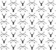 Vector Seamless Vintage Hunting Pattern With Deer And Bow Royalty Free Stock Image