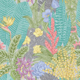 Vector seamless vintage pattern. Exotic flowers and plants. Stock Photos