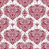 Vector seamless vintage pattern with hearts. Royalty Free Stock Photography