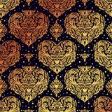 Vector seamless vintage pattern with hearts. Royalty Free Stock Images