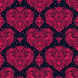 Vector seamless vintage pattern with hearts. Stock Image
