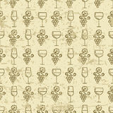 Vector seamless vintage pattern with outline vine grape and wine Royalty Free Stock Photography