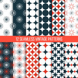 Vector seamless vintage patterns set. Vector seamless retro patterns set. Geometric vintage textures. Tiling wallpaper. Red and dark blue color. Can be used for Royalty Free Stock Image