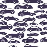 Vector Seamless Vintage Racing Cars Pattern. Hand Drawn Doodle Cartoon Seamless Pattern with Little Cars, Traffic Jam, Cars Drawing Seamless Vector Wallpaper Stock Photography