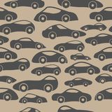 Vector Seamless Vintage Racing Cars Pattern. Hand Drawn Doodle Cartoon Seamless Pattern with Little Cars, Traffic Jam, Cars Drawing Seamless Vector Wallpaper Stock Image