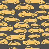 Vector Seamless Vintage Racing Cars Pattern. Hand Drawn Doodle Cartoon Seamless Pattern with Little Cars, Traffic Jam, Cars Drawing Seamless Vector Wallpaper Royalty Free Stock Photos