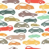 Vector Seamless Vintage Racing Cars Pattern. Hand Drawn Doodle Cartoon Seamless Pattern with Little Cars, Traffic Jam, Cars Drawing Seamless Vector Wallpaper Royalty Free Stock Images