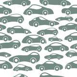 Vector Seamless Vintage Racing Cars Pattern. Hand Drawn Doodle Cartoon Seamless Pattern with Little Cars, Traffic Jam, Cars Drawing Seamless Vector Wallpaper Stock Photo