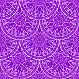 Vector Seamless Violet Floral Mandala Pattern Royalty Free Stock Photo
