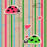 Vector seamless wallpaper with ladybirds Stock Images