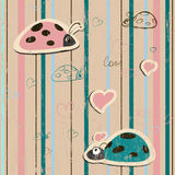 Vector seamless wallpaper with ladybirds in love Stock Photos