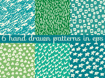 Vector seamless wallpaper pattern background. Hand drawn  Royalty Free Stock Photo