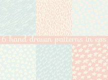 Vector seamless wallpaper pattern background set. Royalty Free Stock Photos