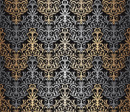 Vector seamless wallpaper pattern. Vector seamless damask wallpaper background Stock Photos