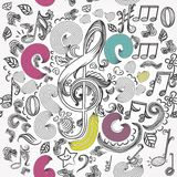 Vector seamless wallpaper pattern with doodle music elements Stock Images