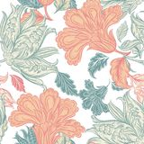 Vector seamless wallpaper pattern with floral elements Stock Photos