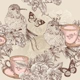 Vector seamless wallpaper pattern in floral vintage style