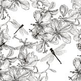 Vector seamless wallpaper pattern with flowers in monochromic co Stock Photo