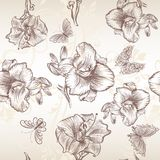Vector seamless wallpaper pattern with lily  flowers Royalty Free Stock Photo