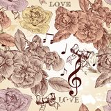 Vector seamless wallpaper pattern with roses in vintage style vector illustration
