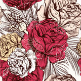 Vector seamless wallpaper pattern with roses in vintage style. Hand drawn seamless wallpaper pattern with roses for design Stock Photography