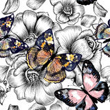 Vector seamless wallpaper pattern with vintage butterflies and r Royalty Free Stock Image