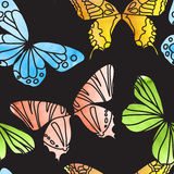 Vector Seamless Watercolor Butterfly Pattern Stock Photography