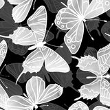 Vector Seamless Watercolor Butterfly Pattern Stock Images
