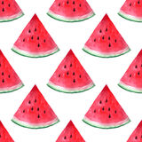 Vector seamless watercolor hand drawn watermelon pattern. Royalty Free Stock Photography