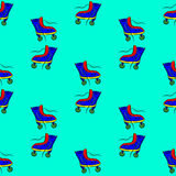 Vector seamless watercolor pattern with colorful retro roller skates Stock Image