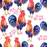 Vector seamless watercolor pattern with fire cock on white backg. Vector seamless pattern with fire cock on white background and text Happy New Year!. Chinese Royalty Free Stock Images