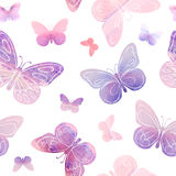 Vector seamless watercolor pattern - hand painted butterflies Stock Image