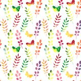 Vector seamless watercolor pattern with leaves Royalty Free Stock Photos